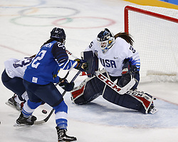 February 11, 2018 - Pyeongchang, KOREA - United States goaltender Madeline Rooney (35) blocks a shot by Finland forward Emma Nuutinen (22) during the women's hockey group A play during the Pyeongchang 2018 Olympic Winter Games at Kwandong Hockey Centre. The USA beat Finland 3-1. (Credit Image: © David McIntyre via ZUMA Wire)