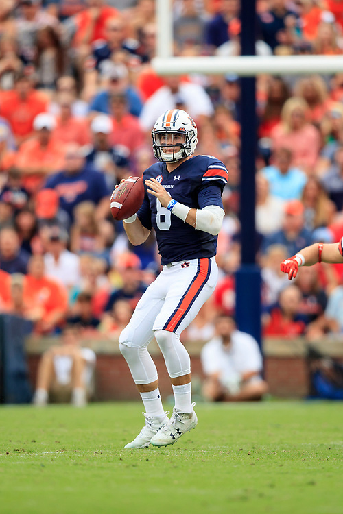 Auburn Tigers quarterback Jarrett Stidham (8) looks to pass during an NCAA football game against the Mississippi Rebels, Saturday, October 7, 2017, in Auburn, AL. Auburn won 44-23. (Paul Abell via Abell Images for Chick-fil-A Peach Bowl)