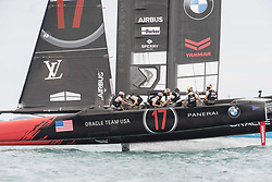 June 24, 2017 - Bermudes, USA - The Great Sound, Bermuda, 24th June 2017, Oracle Team USA finish race five well behind Emirates Team New Zealand. Day three of racing in the America's Cup presented by louis Vuitton. (Credit Image: © Panoramic via ZUMA Press)