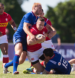 June 16, 2018 - Ottawa, ON, U.S. - OTTAWA, ON - JUNE 16: Nick Blevins (12 Centre ) of Canada in the Canada versus Russia international Rugby Union action on June 16, 2018, at Twin Elms Rugby Park in Ottawa, Canada. Russia won the game 43-20. (Photo by Sean Burges/Icon Sportswire) (Credit Image: © Sean Burges/Icon SMI via ZUMA Press)