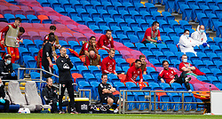 CARDIFF, WALES - Sunday, September 6, 2020: Wales substitutes during the UEFA Nations League Group Stage League B Group 4 match between Wales and Bulgaria at the Cardiff City Stadium. Ben Cabango, Chris Gunter, goalkeeper Adam Davies, Hal Robson-Kanu, Will Vaulks, goalkeeper Daniel Ward. (Pic by David Rawcliffe/Propaganda)