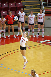 31 OCT 2008: M.C. Richmond makes a leaping serve during a match in which the Missouri State Bears defeated the Redbirds of Illinois State 3 sets to 2 on Doug Collins Court inside Redbird Arena in Normal Illinois