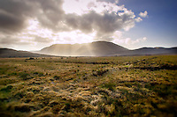 A scenic field, mountain and sunrise in County Murrisk, Ireland