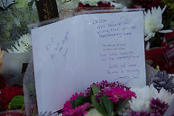 © Licensed to London News Pictures . 13/12/2015 . Bolton , UK . Flowers and card left at the scene . Greater Manchester Police report they are conducting a murder investigation after a man , named locally as Carlton Alexander (23) , was stabbed on Brightmeadow Place in Breightmet in Bolton . Photo credit : Joel Goodman/LNP