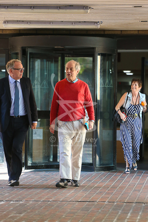 """Iain MacMaster, 70, leaves Southwark Crown Court in London where his is on trial, accused of conspiring with Morris Benhamu, 42, to defraud Claire Gordon - once dubbed """"Britain's answer to Brigitte Bardot"""" - and her relatives as her rightful beneficiaries of her entire estate. London, April 19 2018."""