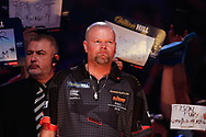 Raymond van Barneveld with his game face on, about to walk-on in his penultimate World Championship after announcing his retirement after next year's 2019/2020 Championship during the World Championship Darts 2018 at Alexandra Palace, London, United Kingdom on 17 December 2018.