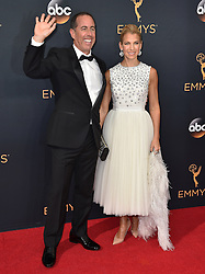 Jerry Seinfeld, Jessica Seinfeld attend the 68th Annual Primetime Emmy Awards at Microsoft Theater on September 18, 2016 in Los Angeles, CA, USA. Photo by Lionel Hahn/ABACAPRESS.COM