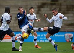 Falkirk's Michael Tidser tackles Raith Rovers Regan Hendry. Raith Rovers 2 v 2 Falkirk, Scottish Football League Division One played 5/9/2019 at Stark's Park, Kirkcaldy.