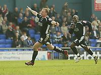 Photo: Aidan Ellis.<br /> Oldham Athletic v Swansea City. Coca Cola League 1. 22/04/2006.<br /> Swansea's Kristian O'Leary celebrates his goal.