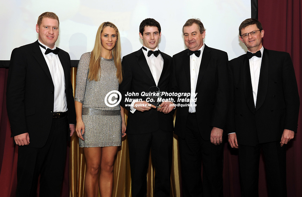 18-01-2013. Meath Chronicle / Cusack Hotel Group Meath Sports Person of the Year award 2012 at the Knightsbrook Hotel, Trim.<br /> Outstanding Individual Achievenent Award Nominee Presentation.<br /> L to R: Jonathan Cusack, Cusack Hotel Group. Evanne Ni Chuilinn, Donal Keogan (Nominee), Noel Meade and Frank Long, Celtic Media Group.<br /> Photo: John Quirke / www.quirke.ie<br /> ©John Quirke Photography, Unit 17, Blackcastle Shopping Cte. Navan. Co. Meath. 046-9079044 / 087-2579454.
