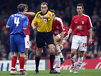Photo: Rich Eaton.<br /> <br /> Bristol City v Crewe Alexander. Coca Cola League 1. 14/10/2006. Referee Mr Crossley points at Crewes Gary Roberts #4 before sending him off