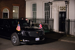 London, UK. 3 December, 2019. The Beast is parked outside 11 Downing Street to pick up President Trump and his wife Melania following a reception for NATO leaders on the eve of the military alliance's 70th anniversary summit at a luxury hotel near Watford.