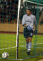 Photo: Scott Heavey.<br /> Monaco v Chelsea.  Champions League Semi Final, first leg. 20/04/2004.<br /> Marco Ambrosio picks the ball out of the net after Monaco take the lead