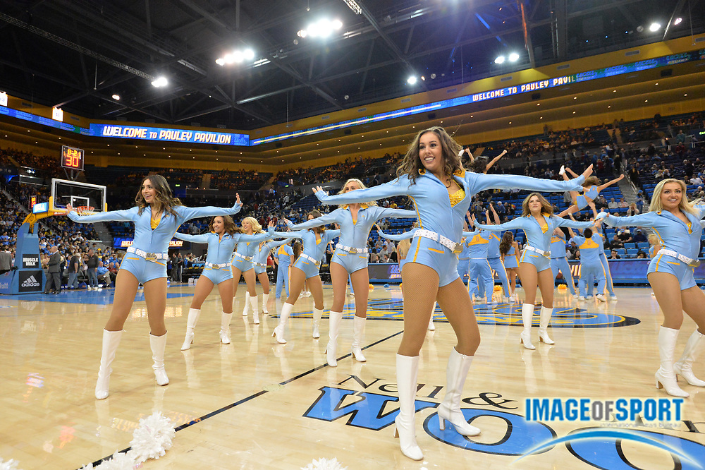 Jan 13, 2016; Los Angeles, CA, USA; UCLA Bruins cheerleaders perform during an NCAA basketball game against the Southern California Trojans at Pauley Pavilion.