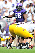 FORT WORTH, TX - SEPTEMBER 13:  Chucky Hunter #96 of the TCU Horned Frogs lines up against the Minnesota Golden Gophers on September 13, 2014 at Amon G. Carter Stadium in Fort Worth, Texas.  (Photo by Cooper Neill/Getty Images) *** Local Caption *** Chucky Hunter