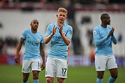 Manchester City midfielder Kevin De Bruyne (17) applauds the visiting fans after the Premier League match between West Ham United and Manchester City at the London Stadium, London, England on 29 April 2018. Picture by Toyin Oshodi.