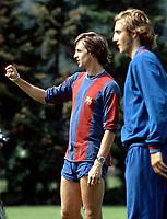 Fotball<br /> Barcelona Historie<br /> Foto: imago/Digitalsport<br /> NORWAY ONLY<br /> <br /> 07.08.1974 <br /> Johan Cruyff (li.) und Johan Neeskens (beide Barca)