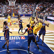UNCASVILLE, CONNECTICUT- JUNE 5:   Tiffany Mitchell #3 of the Indiana Fever has her shot blocked by Alex Bentley #20 of the Connecticut Sun resulting in a jump ball during the Indiana Fever Vs Connecticut Sun, WNBA regular season game at Mohegan Sun Arena on June 3, 2016 in Uncasville, Connecticut. (Photo by Tim Clayton/Corbis via Getty Images)