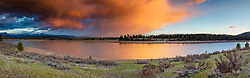 """""""Prosser Reservoir Sunset 4"""" - Stitched panoramic photograph of a colorful cloud above Prosser Reservoir in Truckee, California, shot at sunset."""