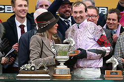 Nico de Boinville (right) after victory in the JCP Triumph Hurdle during Gold Cup Day of the 2019 Cheltenham Festival at Cheltenham Racecourse.