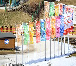 17.03.2017, Ramsau am Dachstein, AUT, Special Olympics 2017, Wintergames, Langlauf, Divisioning 5 km Classic, im Bild Fahnen mit dem Special Olympics Logo // flags during the Cross Country Divisioning 5 km Classic at the Special Olympics World Winter Games Austria 2017 in Ramsau am Dachstein, Austria on 2017/03/17. EXPA Pictures © 2017, PhotoCredit: EXPA / Martin Huber
