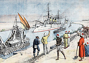 Russo-Japanese War 1904-1905: Russian warships, led by the 'Pobeida', passing through the Suez Canal. Photographer taking picture (foreground). From 'Le Petit Journal', Paris, 17 January 1904.