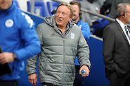 Cardiff City manager Neil Warnock looks surprised before kick off. EFL Skybet championship match, Cardiff city v Wigan Athletic at the Cardiff city stadium in Cardiff, South Wales on Saturday 29th October 2016.<br /> pic by Carl Robertson, Andrew Orchard sports photography.