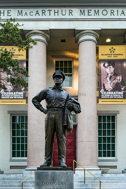 The MacArthur Memorial museum and statue, Norfolk, Virginia, USA