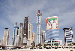 Skyline of tall apartment towers at Jumeirah Marina area of Dubai United Arab Emirates,UAE