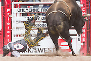 Bull rider Lon Danley is tossed from his bull during the Bull Riding finals at the Cheyenne Frontier Days rodeo in Frontier Park Arena July 26, 2015 in Cheyenne, Wyoming. Frontier Days celebrates the cowboy traditions of the west with a rodeo, parade and fair.