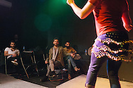 Omar (right) performs a dance during the rehearsal for the Mr Gay Syria contest, held in Istanbul in February 2016. Omar finished third place