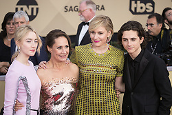 January 21, 2018 - Los Angeles, California, U.S - (L-R) Actors Saoirse Ronan, Laurie Metcalf, Greta Gerwig, and Timothee Chalamet at the red carpet of the 24th Annual Screen Actors Guild Awards held at the Shrine Auditorium in Los Angeles, California, Sunday January 21, 2018. (Credit Image: © Prensa Internacional via ZUMA Wire)