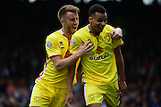 MK Dons Josh Murphy celebrates scoring an equaliser during the Sky Bet Championship match between Fulham and Milton Keynes Dons at Craven Cottage, London, England on 2 April 2016. Photo by Jon Bromley.