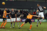 James Wilson of Lincoln City (R) heads and scores his team's first goal. EFL Skybet Football League two match, Barnet v Lincoln City at the Hive in London on Saturday 20th January 2018. <br /> pic by Steffan Bowen, Andrew Orchard sports photography.