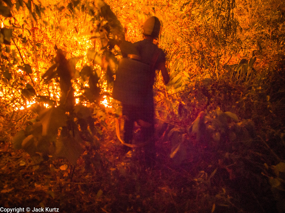 """24 APRIL 2014 - CHIANG SAEN, CHIANG RAI, THAILAND:  A firefighter tries to attack a wildfire that was started by a farmer clearing his land in Chiang Rai province, Thailand. Farmers in Thailand and neighboring Laos and Myanmar still practice """"slash and burn"""" agriculture, burning out their fields in February, March and April before the start of the rainy season. The Thai government is trying to put a stop to the practice in Thailand but farmers continue to burn. Chiang Rai province in northern Thailand is facing a drought this year. The 2014 drought has been brought on by lower than normal dry season rains. At the same time, closing dams in Yunnan province of China has caused the level of the Mekong River to drop suddenly exposing rocks and sandbars in the normally navigable Mekong River. Changes in the Mekong's levels means commercial shipping can't progress past Chiang Saen. Dozens of ships are tied up in the port area along the city's waterfront.                   PHOTO BY JACK KURTZ"""