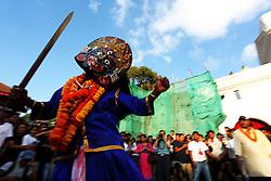 September 28, 2018 - Kathmandu, Nepal - Masked dancer ''Sawabhaku'' peforms during the last day of  Indrajatra festival at Hanuman Dhoka Durbar Square. Indra Jatra is an eight day festival with a chariot procession dedicated to Goddess Kumari, Lord Ganesh and Bhairav, as well as worshiping Indra, the king of gods. (Credit Image: © Archana Shrestha/Pacific Press via ZUMA Wire)