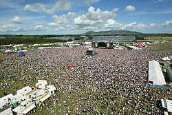 Razorlight, pictured from the Big Wheel, on the main stage on Sunday 10th July, 2005 at the two-day T in the Park festival, at Balado, Kinross-shire, Scotland..