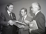Liam Kavanagh being presented with Building Regulations Manual, <br /> 16th May 1984