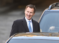 © Licensed to London News Pictures. 11/04/2019. London, UK. Foreign Secretary JEREMY HUNT is seen leaving Parliament following a statement by the Prime Minister. British PM Theresa May was last night granted an extension to the date the UK will leave the EU, until October 31st of this year. Photo credit: Ben Cawthra/LNP