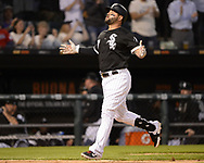 CHICAGO - MAY 30:  Yonder Alonso #17 of the Chicago White Sox reacts after hitting a home run against the Cleveland Indians on May 30, 2019 at Guaranteed Rate Field in Chicago, Illinois.  (Photo by Ron Vesely)  Subject:  Yonder Alonso