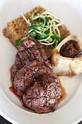 Char Grilled fillet beefsteak with grilled bone marrow