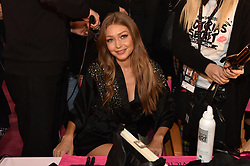 Gigi Hadid posing backstage of the 2018 Victoria's Secret Fashion Show on November 8, 2018 in New York City, New York. Photo by Lionel Hahn/ABACAPRESS.COM