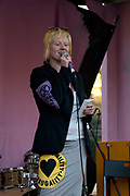 Co founder of extinction rebellion Clare Farrell adresses the audience at the Marble Arch Extinction Rebellion camp cheer. Several roads were blocked across four sites in central London, by the Extinction Rebellion climate change protests, April 2019.