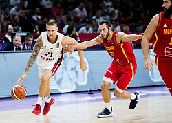 Aigars Skele of Latvia vs Vladimir Mihailovic of Montenegro during basketball match between National Teams of Latvia and Montenegro at Day 11 in Round of 16 of the FIBA EuroBasket 2017 at Sinan Erdem Dome in Istanbul, Turkey on September 10, 2017. Photo by Vid Ponikvar / Sportida