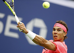 NEW YORK, Sept. 7, 2017  Rafael Nadal of Spain returns a ball to Andrey Rublev of Russia during the men's singles quarterfinal match at the 2017 U.S. Open in New York, the United States, Sept. 6, 2017. Rafael Nadal won 3-0 to enter semifinal. (Credit Image: © Qin Lang/Xinhua via ZUMA Wire)