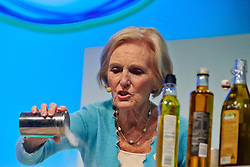© Licensed to London News Pictures.  15/11/2013. LONDON, UK. Great British Bake Off star Mary Berry (pictured) gives a cookery demonstration at the BBC Good Food Show held in Olympia Exhibition Hall. The event opens today and runs until Sunday 17 November. Photo credit: Cliff Hide/LNP