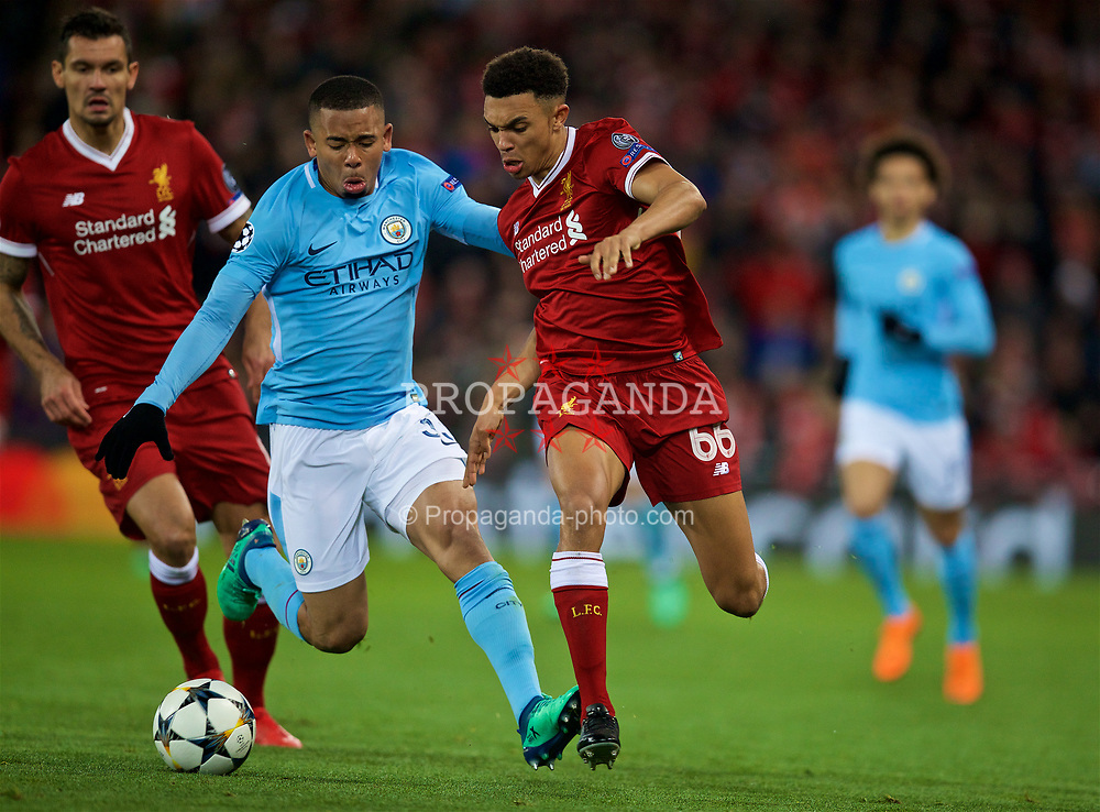 LIVERPOOL, ENGLAND - Wednesday, April 4, 2018: Liverpool's Trent Alexander-Arnold during the UEFA Champions League Quarter-Final 1st Leg match between Liverpool FC and Manchester City FC at Anfield. (Pic by David Rawcliffe/Propaganda)