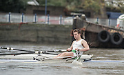 """Putney. London. GREAT BRITAIN; IRL LM1X. Niall O'TOOLE. <br /> <br /> 1995 Thames World Sculling Championships, Putney to Mortlake. Championship Course, River Thames.<br /> <br /> [Mandatory Credit; """"Photo, Peter Spurrier/Intersport-images]"""