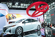 New York, NY, USA-23 March 2016. Toyota showed its Prius Prime, a hybrid which they expect to have on the market in August, 2016.