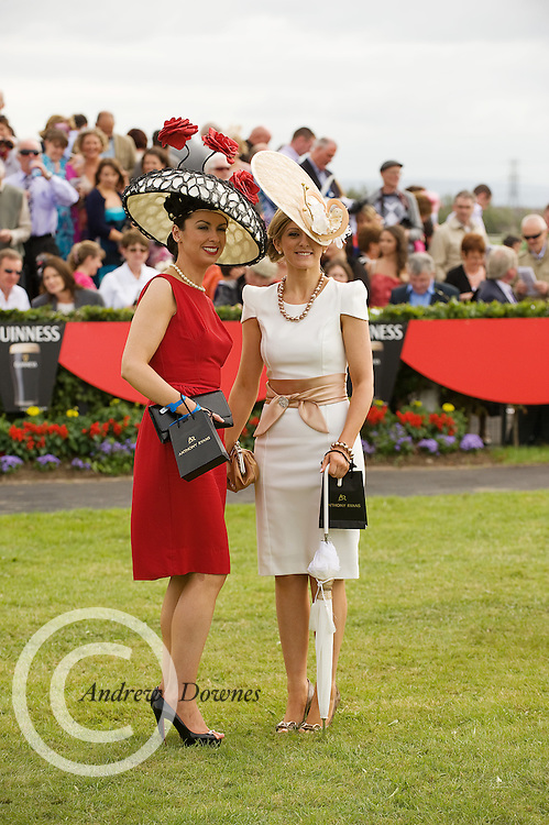 The winner of the Anthony Ryan's Best Dressed Lady Competition on Ladies Day at the Galway Races was Suzanne Mc Garry from Sligo. Sporting a hat designed by Galway milliner Edel Ramburg, Sieglinde Mullers from Moycullen, Co. Galway was the winner of the Anthony Ryan's Best Hat Competition. Photo:Andrew Downes